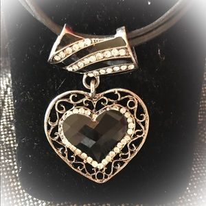 Chico's Silver & Rhinestone Heart pendant necklace
